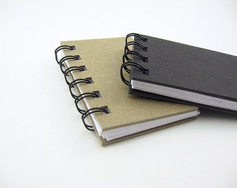 2 Small Blank Notebooks : black or brown khaki - spiral bound, small, mini, wire binding, black book