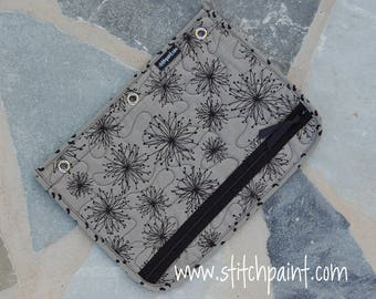 Back to School Supplies / Quilted 3 Ring Binder Zipper Pencil Case / Binder Organizer / Pencil Pouch / Ready to Ship / Stitchpaint / Spiro