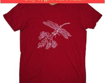Mens T Shirt - Fire Breathing Dragonfly T Shirt - Red Tee Shirts - Whimsical Tees - Screen Print - Mens Short Sleeve Shirt - Red Top