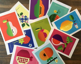 Charming set of 10 vibrantly colored Fruit Postcards for mailing and displaying, a great gift idea; postcard set, fruit prints, postcard art