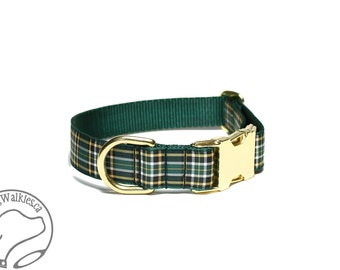 """Irish National Tartan Dog Collar - 1""""( 25mm) - Green and Gold Plaid Dog Collar - Martingale or Quick Side Release - Choice of style and size"""