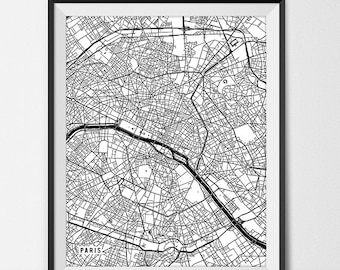 Paris France Map Art Print, Paris Map Art, Paris City Map of Paris Art, Paris Wall Art, Giclee Print Black and White Decor for Office