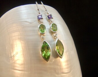 Green Peridot and Amethyst Sterling Silver Drop Earrings