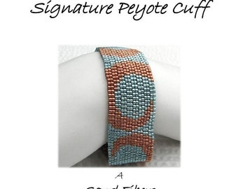 Peyote Pattern - Turquoise and Copper Peyote Cuff / Peyote Bracelet - A Sand Fibers For Personal Use Only PDF Pattern - 3 for 2