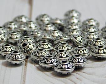 4x7mm - Metal Spacers - Metal Beads - Silver Beads - Silver Spacers - Antique Silver - Silver Rondelle - 50pcs - (5953)