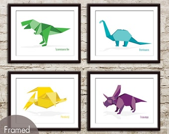 Dinosaur Origami - Set of 4 - Art Print (Featured in Assorted Colors) T-Rex, Brontosaurus, Pterodactyl and Triceratops