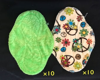 20-pack cloth pad making kit, unfinished, regular length heavy flow in Lime Paisley and Flower Child