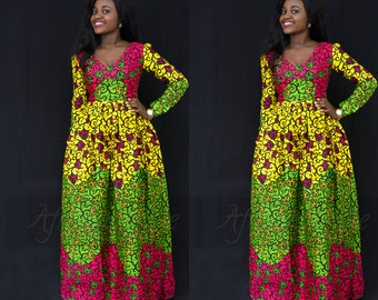 Florence  Maxi dress, African dress,Floral dress, Long African dress, Maxi African dress, Ankara dress, African wax fabric, African fabric