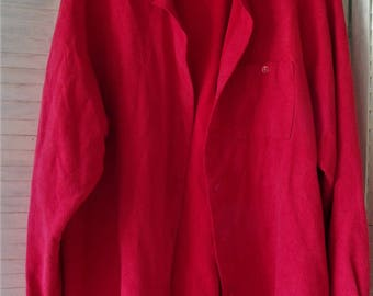 Red Shirt/ Red Jacket/ Woman's Size 16/ Retro White Stag/ Thrifted Chic/ Valentine Red/ Thrift Couture/ Shabbyfab Thrift/ Funky Funwear