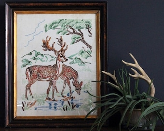 Vintage Doe And Buck Deer Embroidery Needlework Framed Art Antique Stitchery
