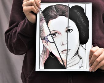 Carrie Fisher - Original Drawing - Colored Pencil & Ink - 8x10 - Print