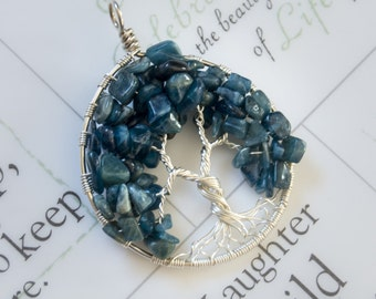 Tree Of Life Pendant - Sterling Silver- Blue Apatite