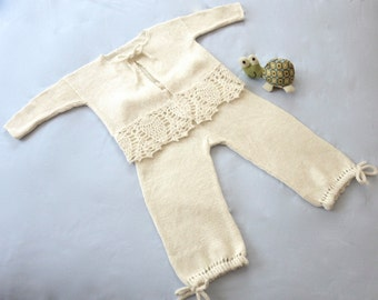 Two Piece Set for Baby Girl - Cardigan and Pants - Cashmere/Linen/Silk Blend