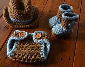 Baby Cowboy Outfit, Crochet Baby Cowboy Outfit, Baby Cowboy Photo Outfit, Brown Baby Cowboy Set, Baby Cowboy Prop, Cowboy Costume