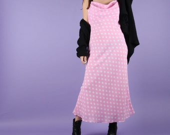 Pink Dress // Polka Dot Dress // 90s Vintage Dress Pink Polka Dot Midi Dress Maxi Dress 90s Vintage Size Small S