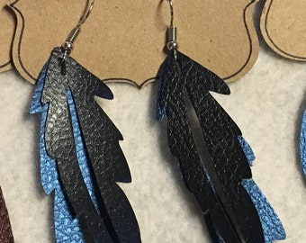 Double Feather faux leather earring
