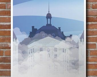 Illustrated poster Bordeaux water mirror