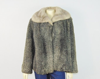Vintage Coat Mink Collar Curly Lamb Fur Gray Floral Satin Lining Modern Medium to Large