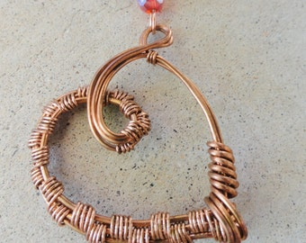 Handmade Copper Wire Wrapped Heart Pendant with Black Suede Necklace By Distinctly Daisy