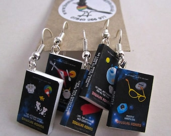 """The Hitchhikers Guide to the Galaxy  Book Earrings from """"The Earring Library"""""""