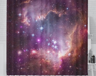 Universe scene with planets stars and galaxies in outer space shower curtain