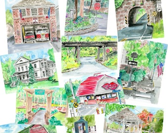 "Set of 7 Wallingford Series Horizontal Postcards, 4.25x6"", Archival Print, Print, Watercolour, old downtown"