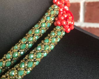 Royalty Necklace/ Green and Red Necklace