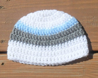 Striped Boy Hat, Infant Baby Hat, Toddler Hat, Blue Stripe, Newborn Boy Hat, Baby Item, Infant Hat, Baby Photo Prop, Photography Hat
