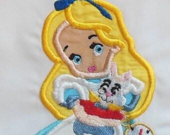 Alice In Wonderland with Toy White Rabbit Iron On Applique