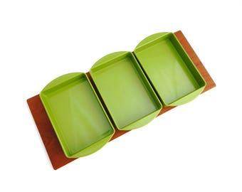 Luthje Denmark Green Divided Dish Vintage Teak Wood Serving Tray Servingware