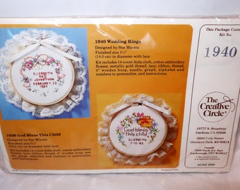 1984 WEDDING RINGS Counted Cross Stitch Kit #1940 By Creative Circle Sue Miyata Wall Hanging Personalize Wood Hoop Lace New Sealed Gift
