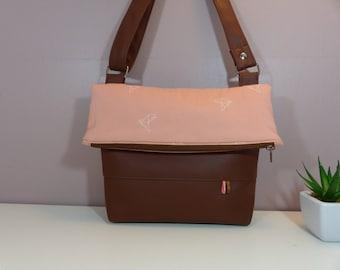 Shoulder bag / clutch bag camel Brown and pink origami