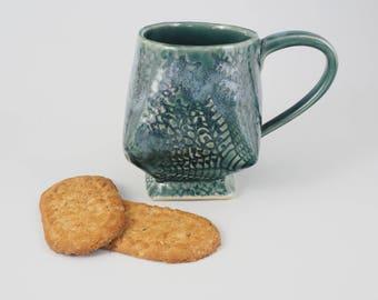 Textured Pottery Mug - Handmade Ceramic Coffee Mug - Lace Textured Cup - Square Foot Mug - Unique Mug - Tea Cup - Handbuilt Pottery Mug