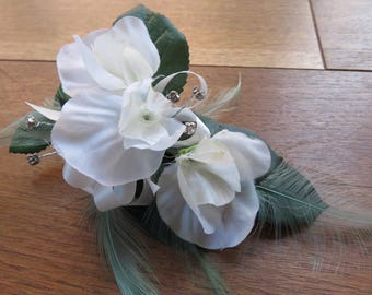 Flower Corsage, Ivory and White Sweet Peas. Wedding, Prom or Event.