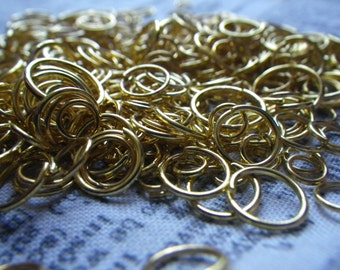 Bright Gold Plated Jump Ring Mix 4-10mm 1 ounce at least 200 pieces