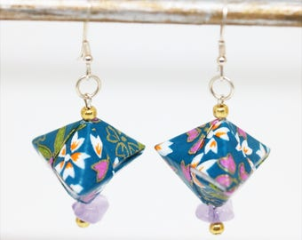 Japanese Origami box - Yuzen paper earrings turquoise and lilac Amethyst jewel woman - Aiko Creation