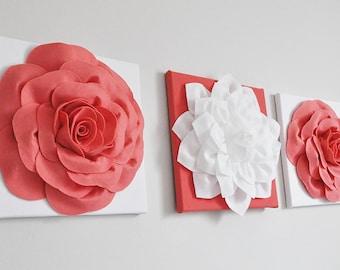 Coral Nursery Art. Rose Floral Nursery. Nursery Wall Art Set. Pink Floral Nursery. Bathroom Decor, Bedroom Decor 12 x 12 Canvas Set Vintage.