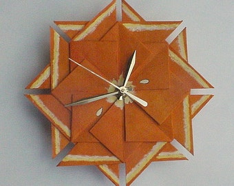 Kitchen Clock, Orange Origami Fruit Clock-Large