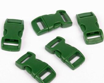 plastic 5 clips for 15mm Paracord bracelet FIR Green
