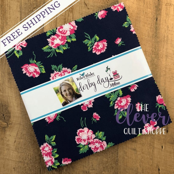Layer Cake Squares, Riley Blake Designs, Derby Day, Kentucky, Derby, Horses, Hats, Floral, Pink, Blue, Green, Navy, Flowers, Bowties, Precut