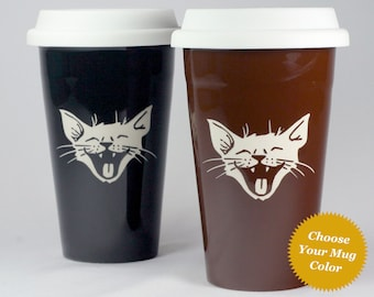 Laughing Cat Travel Mug - happy kitty lidded coffee cup