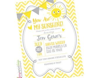 Adorable You Are My Sunshine Baby Shower Invitation - Chevron - DIY Digital File (PDF or JPEG)