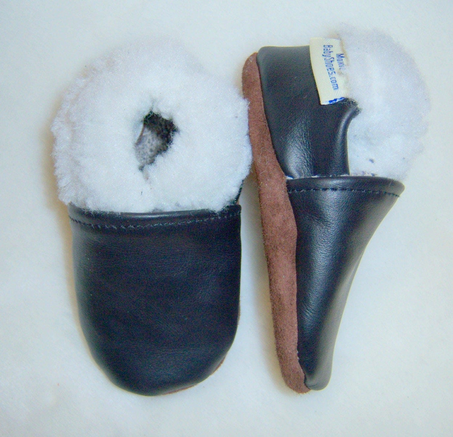 Baby slippers moccasins warm brown leather baby shoes winter lined