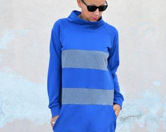 Tunic sweatshirt in organic cotton, cotton for women, long sweatshirts,tunic dress, organic cotton clothing,high neck sweatshirt,tunic