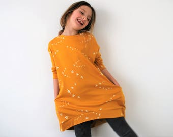Girls yellow jersey dress spring clothing pocket smock girls floppy bird jumper mustard slouchie dress swallows birds print pockets stretch