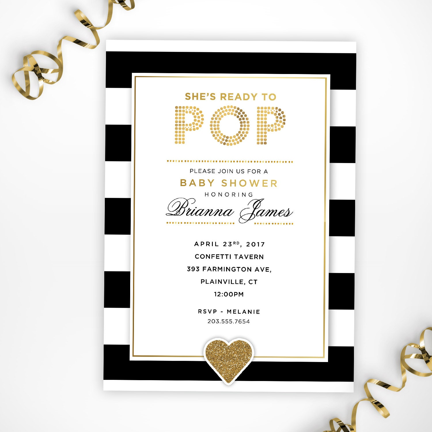 She\'s Ready to Pop Printable Black White and Gold Baby
