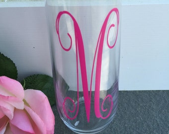 Monogram, Decals, Stemless Champagne Flute Glasses, Vine Font, Pink Vinyl, Monogram Glass, Wedding Gift