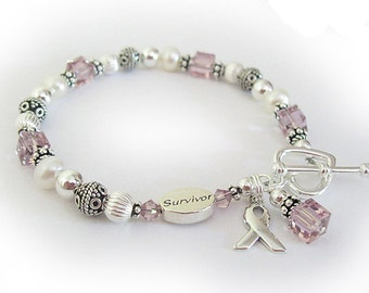 Survivor Jewelry - Lavender Ribbon Bracelet - Charms are optional starts at 59