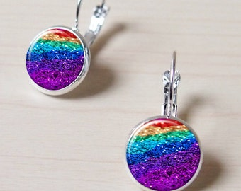 shinning, Glitter, bling bling, rainbow, colorful sand, bling layer, Vintage Silver Earring stud, Earring clip