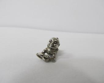 Vintage Sterling Silver Cherub Angel Baby Charm W #414